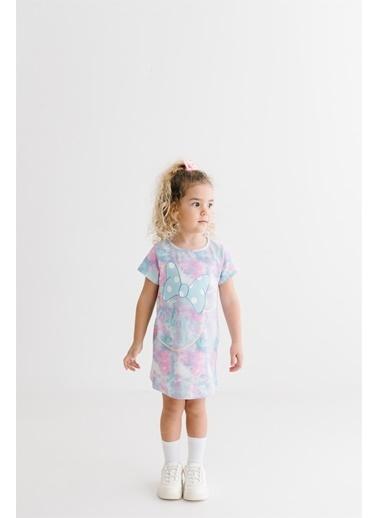 Minnie Mouse  Lisanslı Çocuk Batik Elbise 18195 Mavi